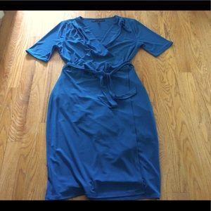 White House Black Market Teal Blue belted dress